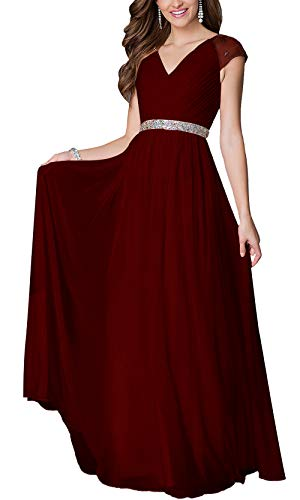 Aofur Womens Evening Dress Ball Gown Prom Party Wedding Formal Long Chiffon Maxi Dresses Plus Size (X-Large, Burgundy)