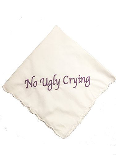 Perfect Bridesmaid Gift Set of 8 Purple No Ugly Crying Wedding Handkerchiefs Embroidered ByWedding Tokens
