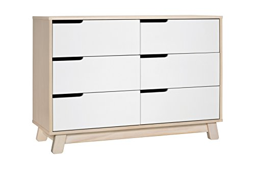 Babyletto Hudson 6-Drawer Assembled Double Dresser, Washed Natural / White