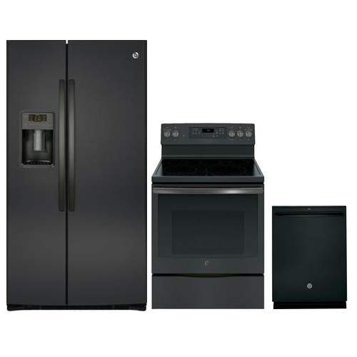 GE 3 Piece Kitchen Appliance Package with GSE25HBLTS 36