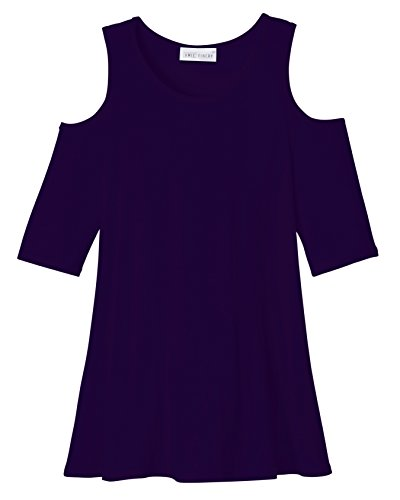 Amie Finery Cold Shoulder Tops For Women Open Shoulder Tunic Tops For Leggings Made In USA Large Estate Navy Blue