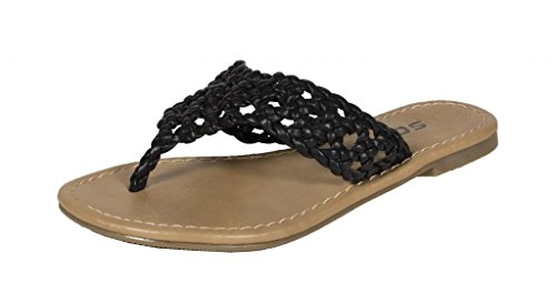 Lustacious Kid's Girly Braided Flip-flop Thong Sandals, black leatherette, 13 (Soda Kids Shoes)