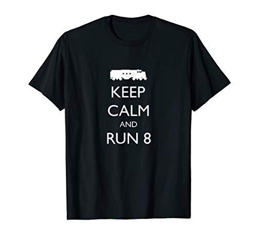 Train Shirt, KEEP CALM and RUN 8, Diesel Locomotive Tee