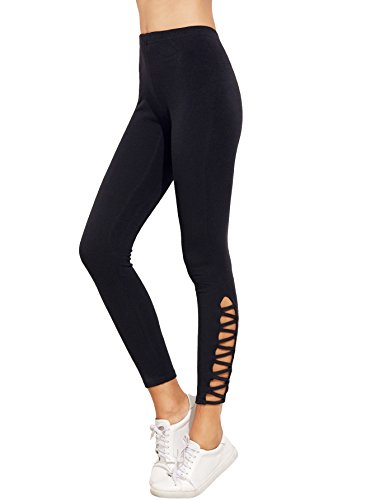 - 31ReBOMwJgL - SweatyRocks Women's Cutout Leggings Skinny Yoga Pants Runing Jogger Active Tight