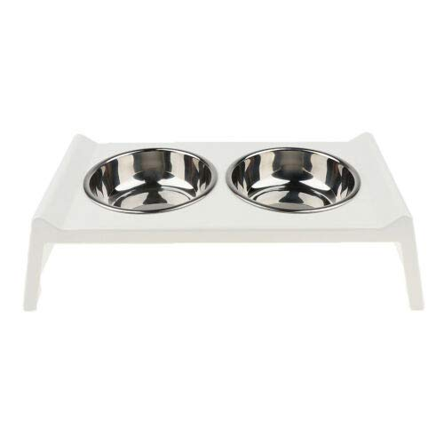 FidgetGear Doggie Feeder Double Bowl Raised Dog Feeding Pet Elevated Stand Feed Bowls New White
