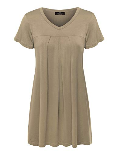 (Made By Johnny WT1057 Womens V Neck Short Sleeve Pleats Tunic Top XL Taupe)