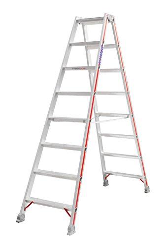 HYMER Stufenstehleiter beidseitig begehbar, 2 x 8 Stufen, 402416