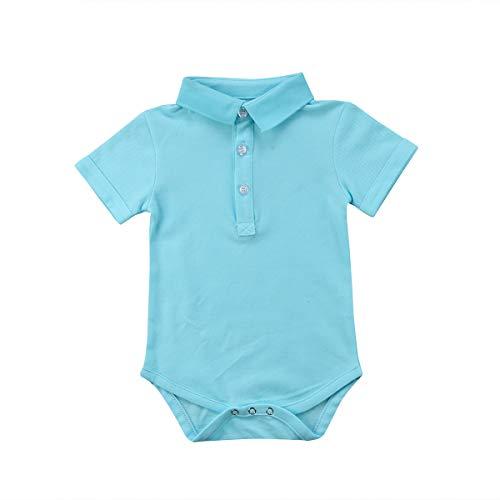 Newborn Baby Boy Girls' One Piece Romper Cute Polo Bodysuit Jumpsuit Baby Summer Outfit (Sky Blue, 12-18 -