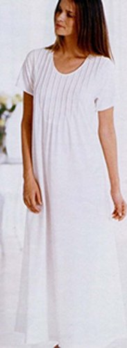 Elegant Comfortable Pintucked Cotton Rayon Knit Short Sleeve Nightgown Made in Italy - Ivory White (Large) (Pintucked Nightgown)