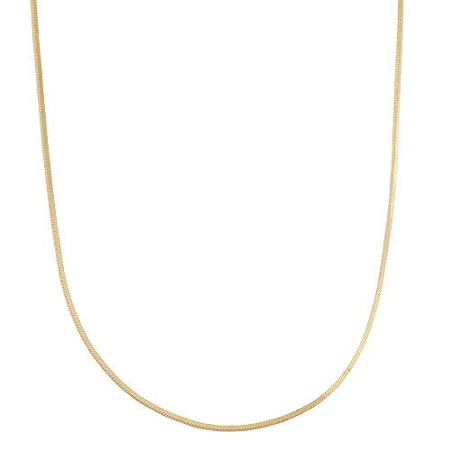 18k Gold Over Sterling Silver 0.76mm Square Snake Chain Necklace 20