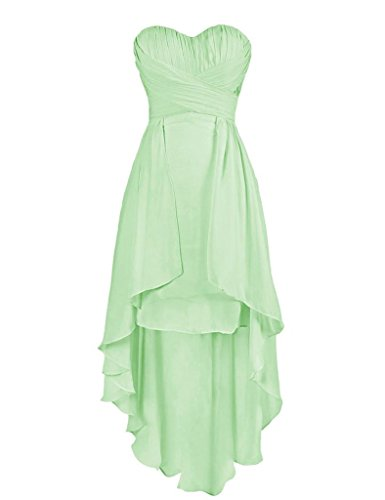 Dresses Cdress High Eevening Prom Bridesmaid Low Sage Wedding Chiffon Gown Sweetheart ttqnwRrP7