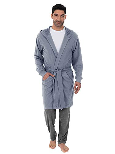 IZOD Men's French Terry Robe, Heather Blue, One Size