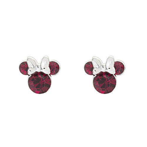 Disney Minnie Mouse Birthstone Jewelry, Silver Plated Crystal Stud Earrings for Women and Girls Mickey's 90th Birthday Anniversary (More Colors Available) (July-Ruby Crystal)