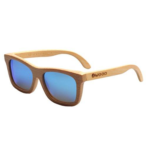 de polarizada bambú Moda Iwood de Gafas Marcos de Azul lente Natural Handcrafted madera sol qq7Rt8