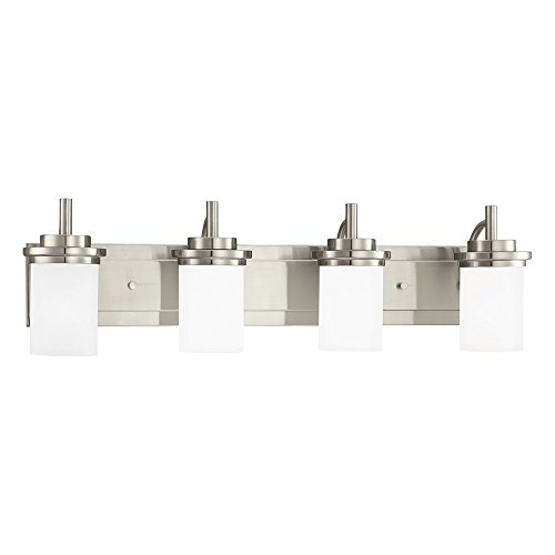 Sea Gull Lighting 44663-962 Winnetka Four-Light Bathroom Light Or Wall Light With Satin Etched Glass Shades, Brushed Nickel Finish - Brushed Nickel Four Light Vanity