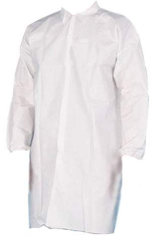 White 50G Microporous Lab Coats 4 Snaps, Elastic Wrists, No Pocket (150, Medium)