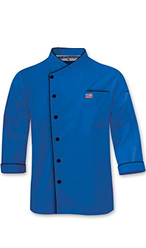 Name and American Flag Embroidery Long Sleeves Stylish Unisex Chef Jacket with Contrast Piping (Royal Blue, L (to Fit Chest 42-43))