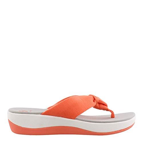 - CLARKS Women's Arla Glison Flip-Flop, Bright Coral Solid Textile, 090 M US