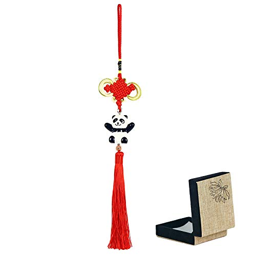 Panda_mall Handmade Chinese Knot Tassel Panda Accessories Hanging Ornament Car Rear View Mirror Ornament Car Pendant Christmas Day Gift(Big Hug)