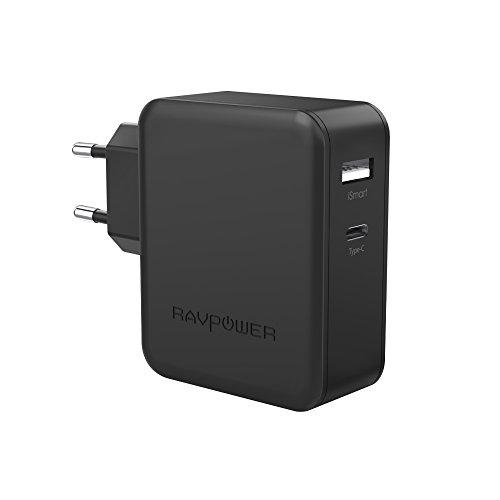 Cargador Tipo C y USB 36W RAVPower Cargador USB C, Cargador Type C y USB para Huawei P9/Nexus/Matebook, LG G5, HTC M10, ZUK Z1, Xiaomi 4C, New Macbook 12 y más-Negro