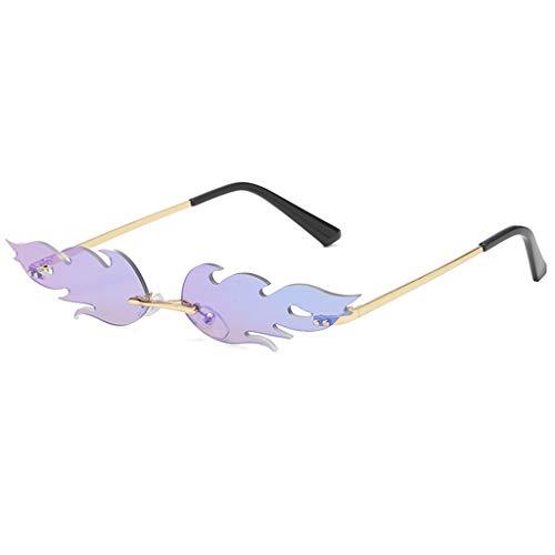 Haluoo Small Frame Sunglasses Creative Irregular Shape Sun Glasses Vintage Retro Steampunk Shield Shades for Women Men (Purple)