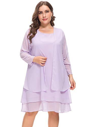 MERRYA Women\'s Plus Size Business Chiffon Jacket Mother of The Bride Dress  Suit (Light Purple, 5X Plus)
