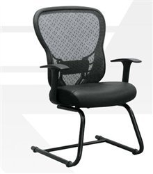 Back Deluxe Visitors Chair - Space Seating Deluxe R2 SpaceGrid Back Visitors Chair with Fixed Arms and Leather Seat