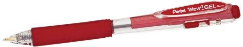 Pentel WOW! Gel Retractable Gel Pen 0.7mm Medium Line Red Ink, Box of 12 (K437-B)