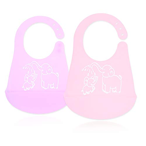 Baby Bibs for Girls and Boys, Soft Silicone Feeding Bib Set of 2 Colors, Easy to Clean Waterproof Adjustable Snaps Baby Bibs Overalls for Infants with Food Catcher Pocket(Purple & Pink)