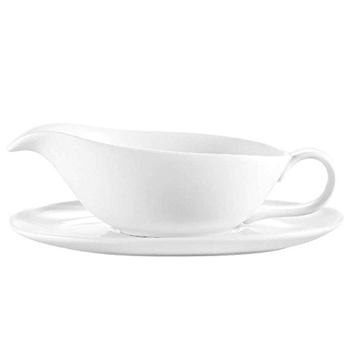 TableTop King SBT-20 White China Sauce Boat with Saucer 20 oz. - 24/Case