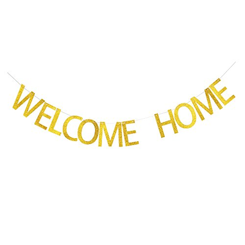 Welcome Home Banner, Family Theme Party Sign, Gold Glitter Letters for Family Party Decor