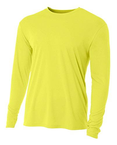 (A4 Men's Cooling Performance Crew Long Sleeve T-Shirt, Safety Yellow, X-Large )