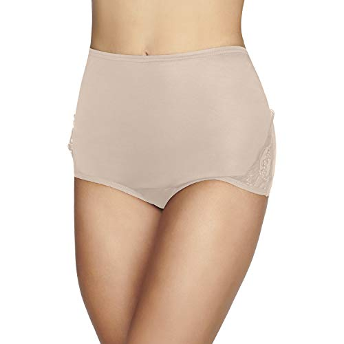 Vanity Fair Women's Plus Size Underwear Perfectly Yours Traditional Nylon Brief Panties, Fawn, X-Large (8) (Open Panel Panties)