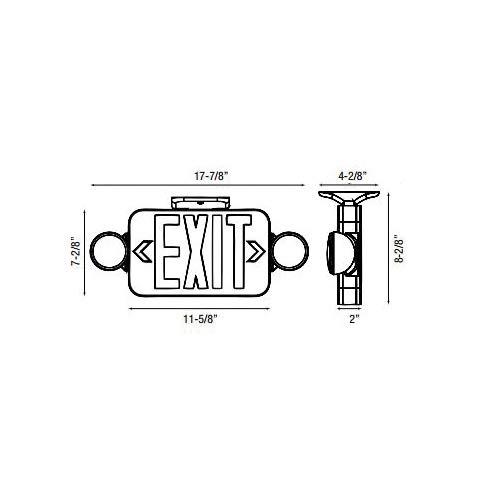 Emergi-Lite Escort II ELXN400 LED Combo Lighting Unit and Exit Sign, Round LED Array Lamp, 120/277 VAC, EXIT Legend