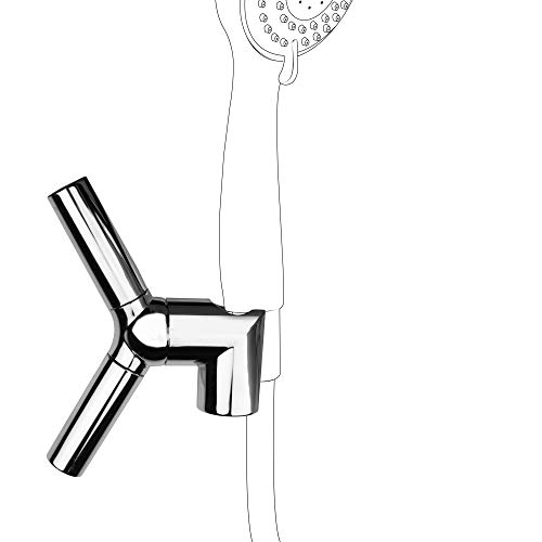 PIH On Wall Mount Shower Holder Bracket, Multi-Functions to Support Your Handheld Shower, Towel, Bath Ball, Necklace or Hair Tie, Chrome