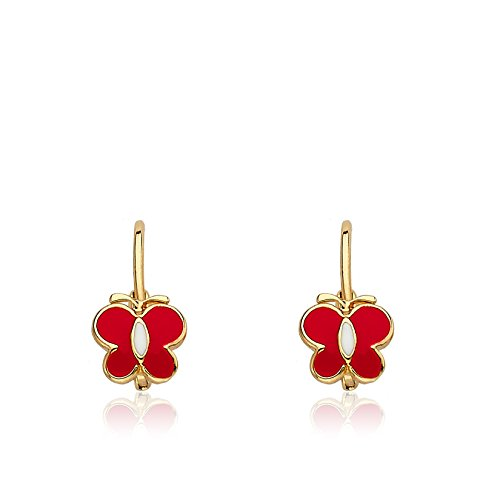 - Little Miss Twin Stars Kids Earrings -Red Frosted Butterfly 14k Gold Platedls Earrings Enamel Red Butterfly Leverback Girls Earrings-Brass