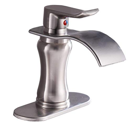 BWE Brushed Nickel Waterfall Bathroom Faucet Single Handle Basin Sink Mixer Tap,Brushed Nickel Lavatory Faucets