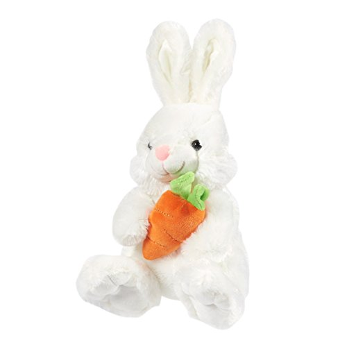 Plush Soft Stuffed Cuddly Cute Easter Bunny Rabbit - Animal Toy for Easter Baskets, Babies, Toddlers, Kids - White 7.5 x 13 x 8 Inches