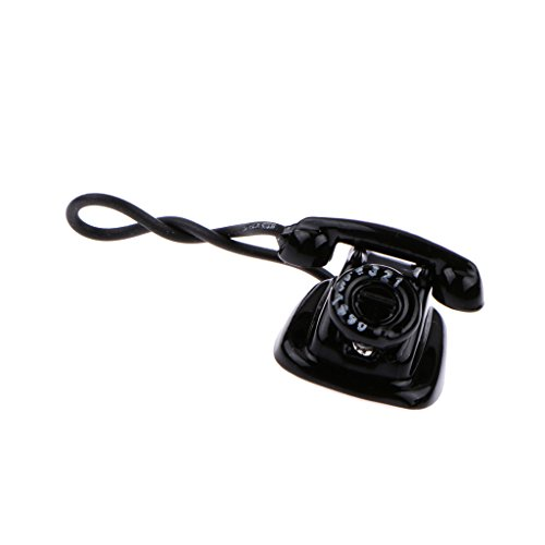 Échelle 1:12 Accessoire Noir Vieilles Poupées De Téléphone De Style Maison Miniature Téléphone