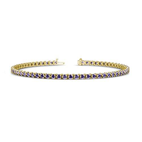 - TriJewels Iolite 2.4mm 3-Prong Tennis Bracelet 1.86 cttw in 14K Yellow Gold