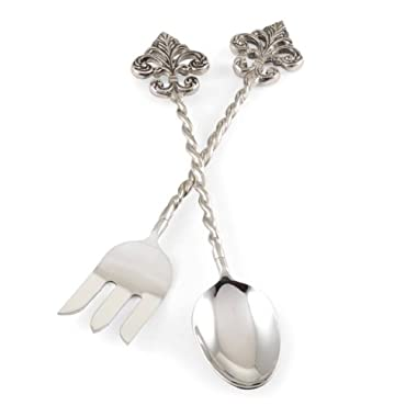 Mud Pie Fleur de Lis Metal 2 Piece Serving Utensil Set