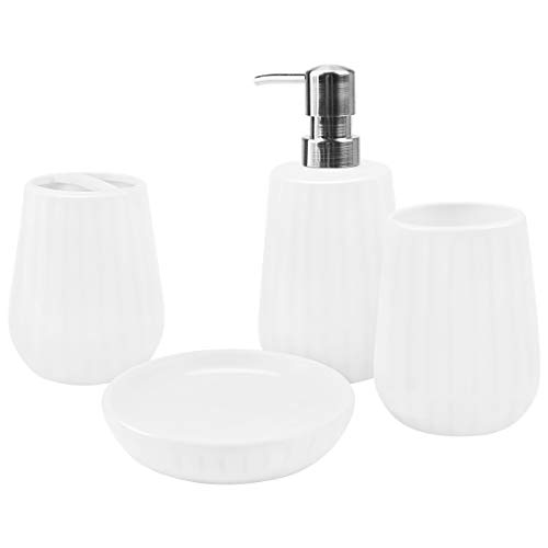 4-Piece Ceramic Bathroom Accessories Set, Complete Ribbed White Bathroom Ensemble Sets for Bath Decor Includes Soap Dispenser Pump, Toothbrush Holder, Tumbler, Soap Dish, Ideas Home Gift