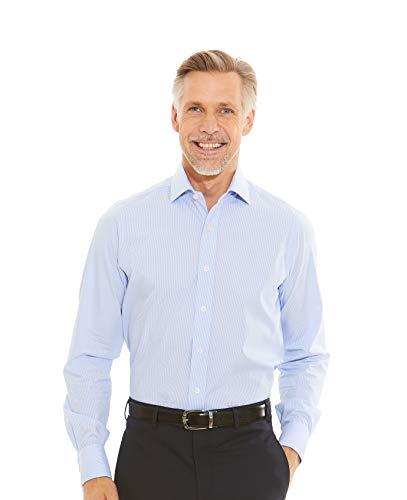 Savile Row Men's Blue Micro Check Dobby Slim Fit Shirt 15 1/2