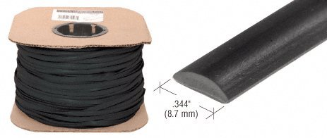 "Cr Laurence 344"" Black Flat Screen Spline - 500 ft Roll"