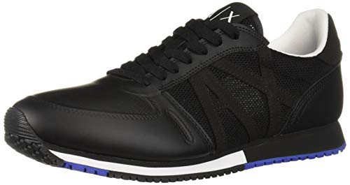 A|X Armani Exchange Men's Lace Up Sneaker with Logo Black, 12 ()