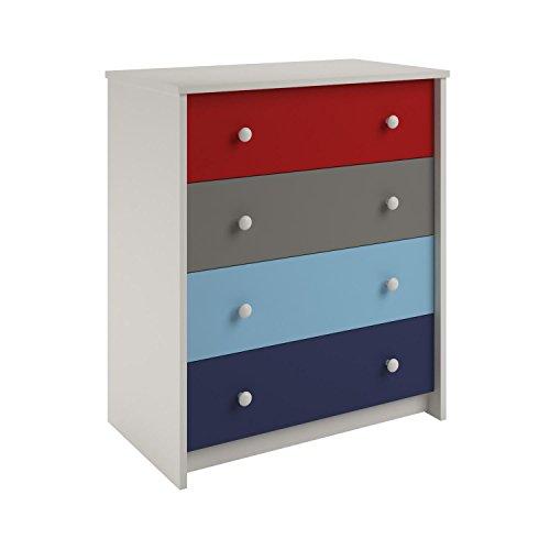 Ameriwood Home  Kaleidoscope 4 Drawer Dresser, Classic/White Stipple