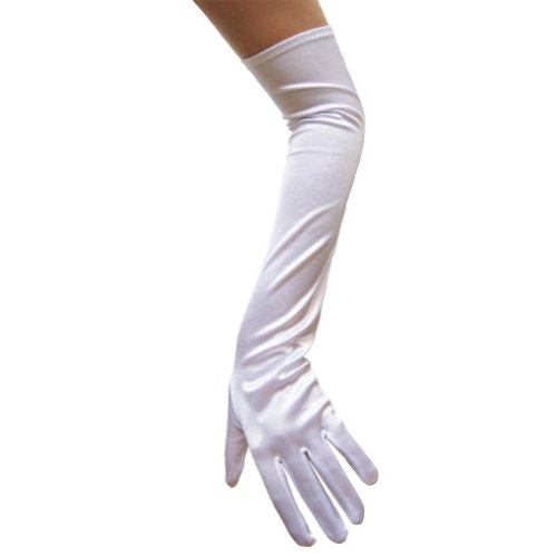 SeasonsTrading White Satin Gloves (Opera Length) ~ Formal, Wedding, Theatrical, Costume Party