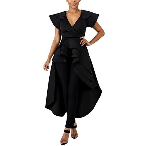 (High Low Dress for Women - Ruffle Short Sleeve Off The Shoulder Bodycon Peplum Shirt Top Black)