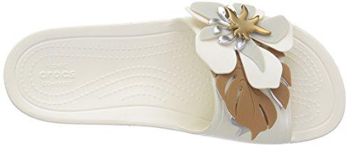 Sln Con Crocs205257 7 Mujer Botanical Flores Para B Mujer ostra m Blanco Crocs Chancla Us rwAIqRAE