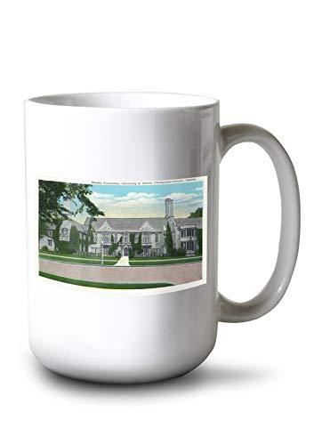 Lantern Press Champaign-Urbana, IL - University of Illinois; Exterior View of The Wesley Foundation BLDG (15oz White Ceramic Mug)
